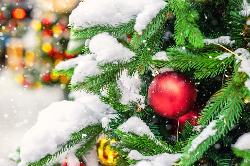 Close-up christmas tree with colorful decoration ball , snowflakes and snow on spruce branches during snowfall in winter outdoors royalty free stock image