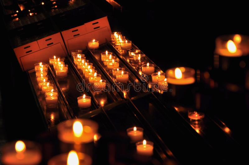 Close-up on church candles royalty free stock images