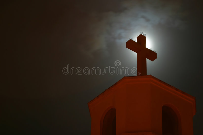 Download Close-up Of A Church Cross. Stock Photo - Image of night, christ: 451564