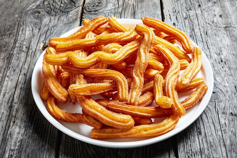 Close-up of churros - spanish and mexican dessert stock images