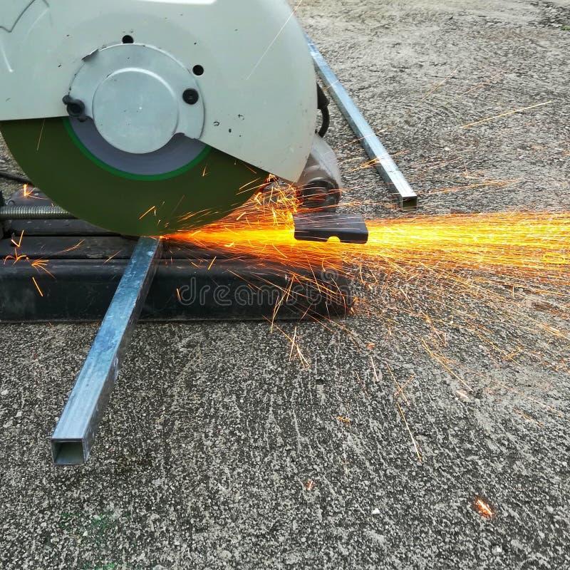 Circular fiber saw machine stock photography