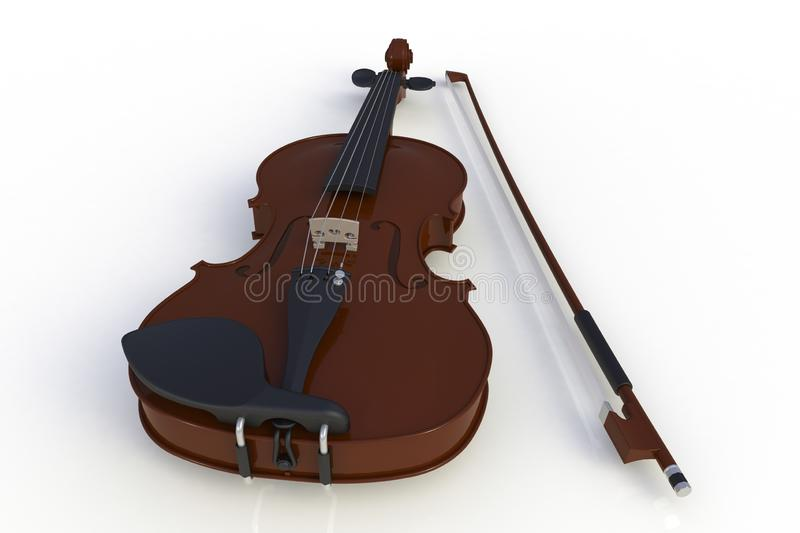 Close up of classical violin with bow isolated on white background, String instrument. 3d rendering stock illustration