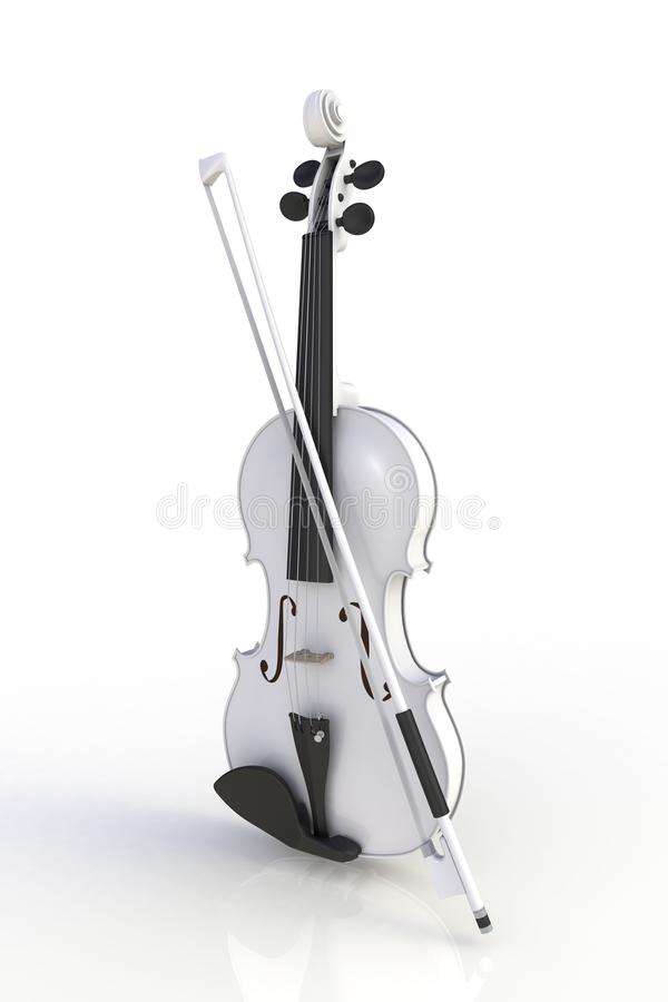Close up of classical white violin with bow isolated on white background, String instrument. 3d rendering royalty free illustration