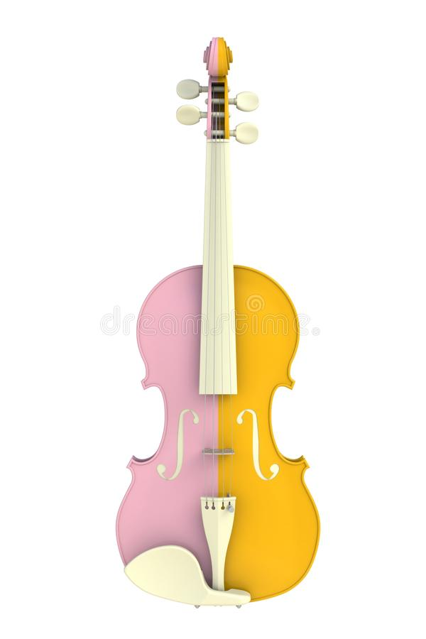 Close up of classical yellow pink violin isolated on white background, String instrument. 3d rendering stock illustration
