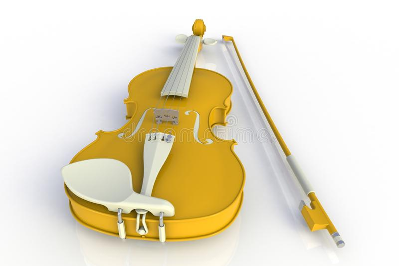Close up of classical yellow violin with bow isolated on white background, String instrument. 3d rendering vector illustration