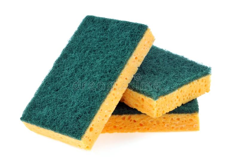 Double sided sponges on a white background royalty free stock image