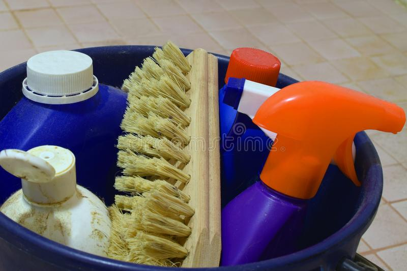 Cleaning items stock photos