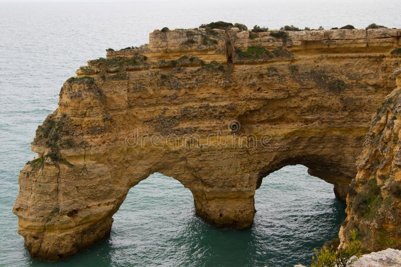Close up of cliff in Algarve royalty free stock image
