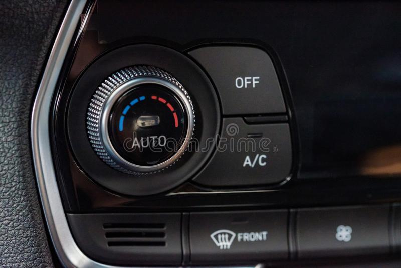 Climate control unit in the new car close stock image