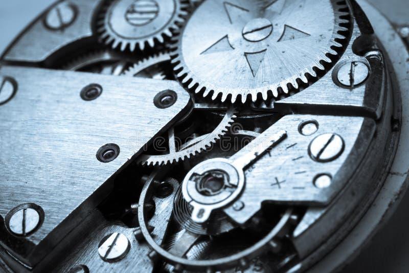Clock mechanism close-up view, Clockwork. Close-up clock mechanism background macro focus design stock image