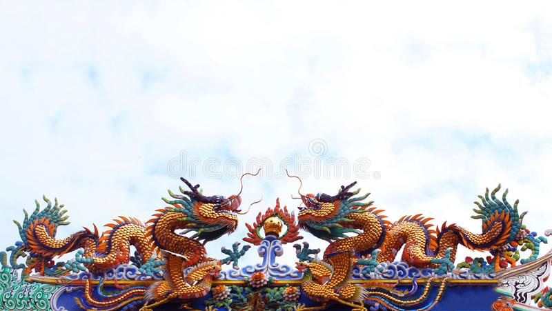 Twin dragon statue in Chinese temple royalty free stock photos