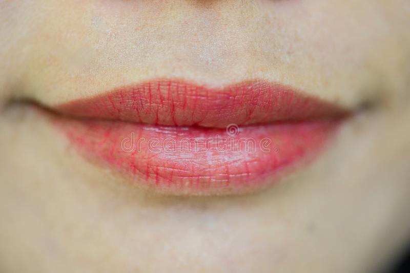 Close-up of closed female mouth with full lips stock images