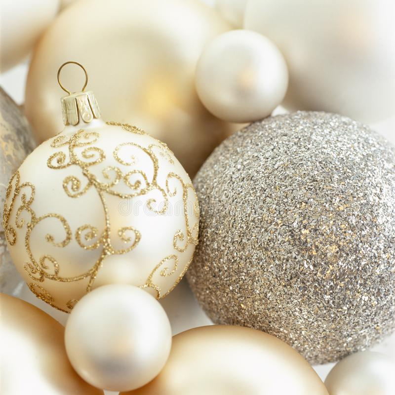 Free Close-up Closeup Of Beautiful, Fancy, Elegant, Silver, White And Gold Christmas Baubles Ornaments. Luxury Holiday Decorations Stock Images - 159703954