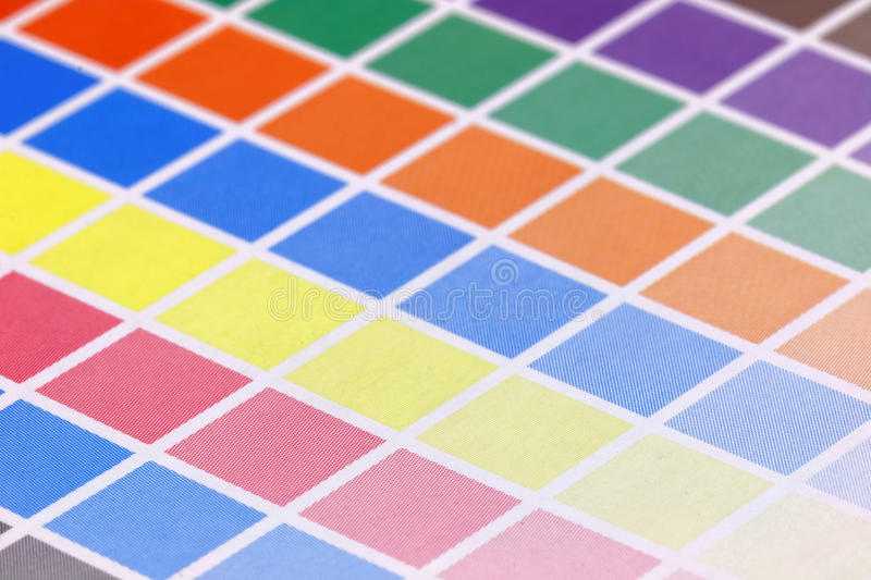 Close-up of cmyk test print, side view, short DOF royalty free stock photos