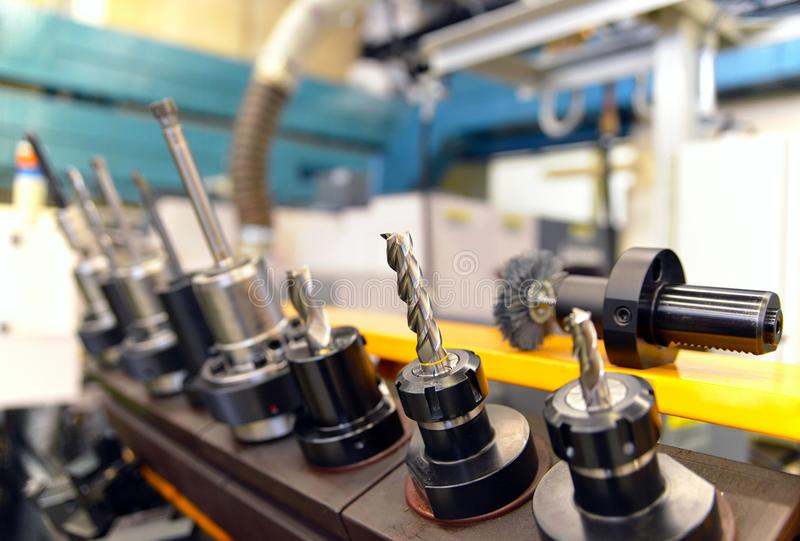 Close up of CNC Mechanical Tools for production of engineering p. Arts stock photo