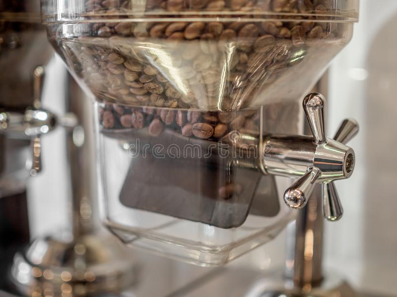 Coffee bean contained in glass tubes royalty free stock images
