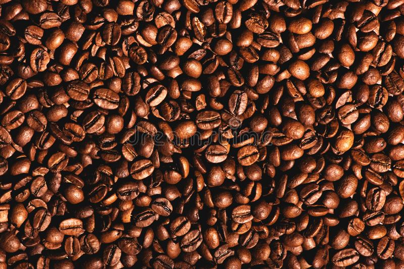 Close up of coffee beans texture background. royalty free stock photos