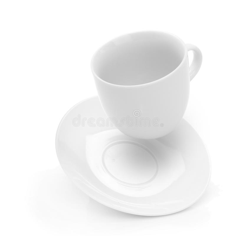 Close up of coffee cup. Falling on white background stock images