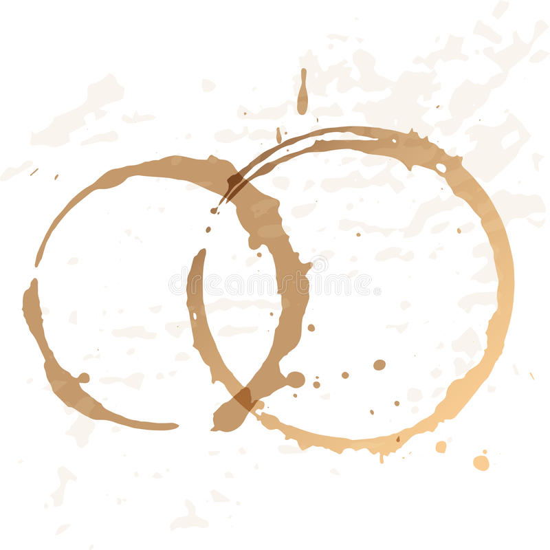 Close up of coffee cup stains. Isolated on white background royalty free illustration