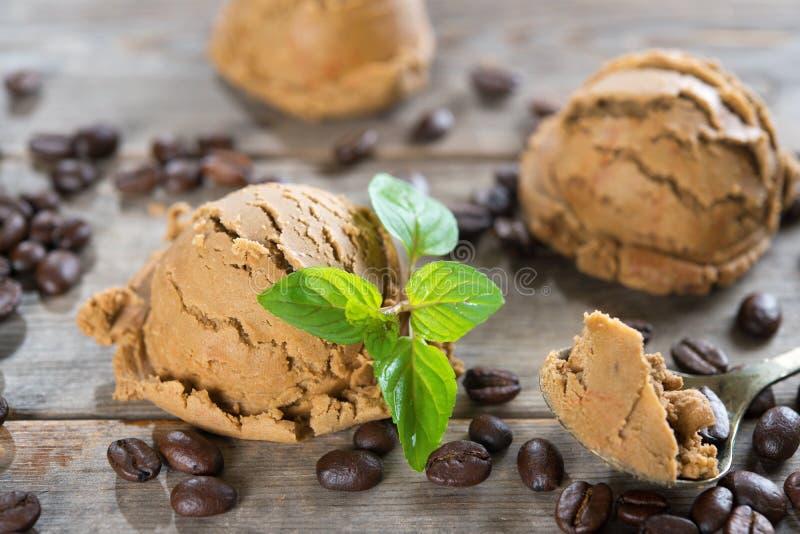 Close up coffee ice cream royalty free stock image