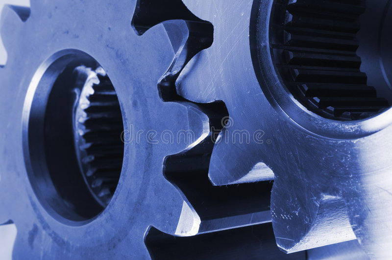 Download Close-up of cogs in blue stock photo. Image of machines - 730704