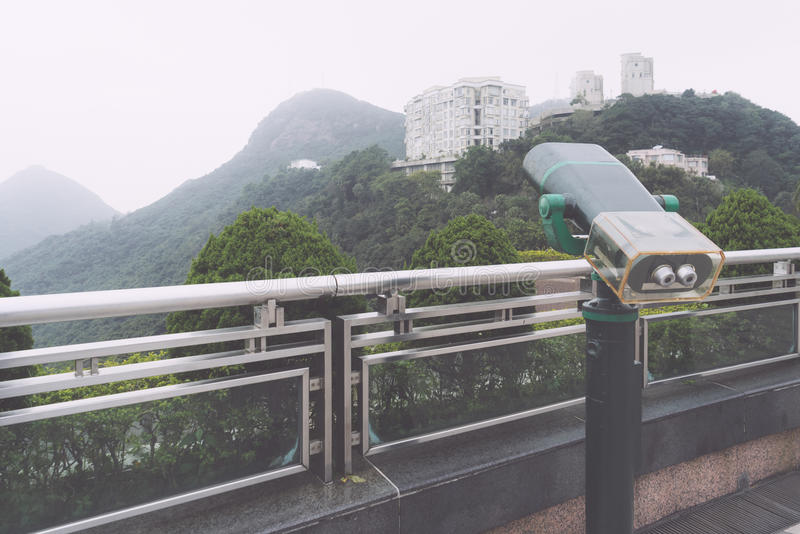 Close-Up Of Coin Operated Telescope At Observation Point in Hong Kong. China royalty free stock photos