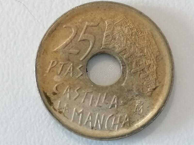 Close-up coin twenty five pesetas Spain stock image
