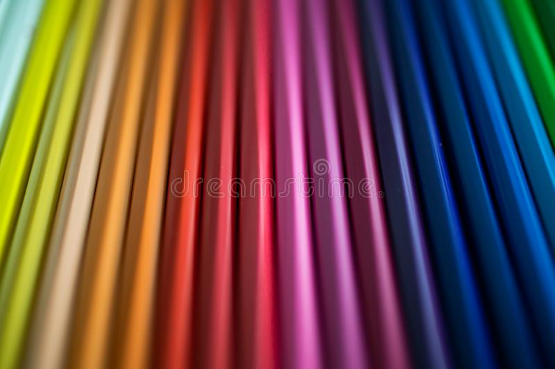 Close up of color pencils as background for design. Crayons background. stock image