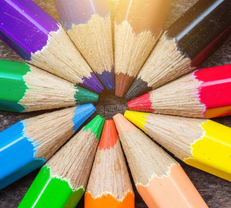 Close up Color pencils on wood. royalty free stock photos