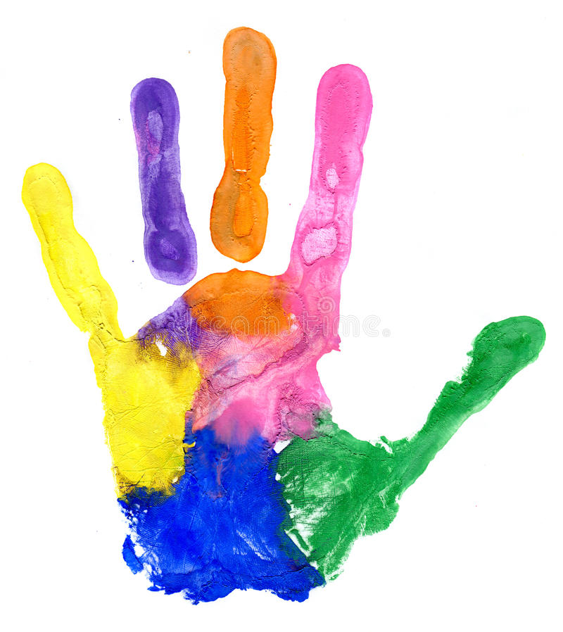 Close up of colored hand print on white stock images