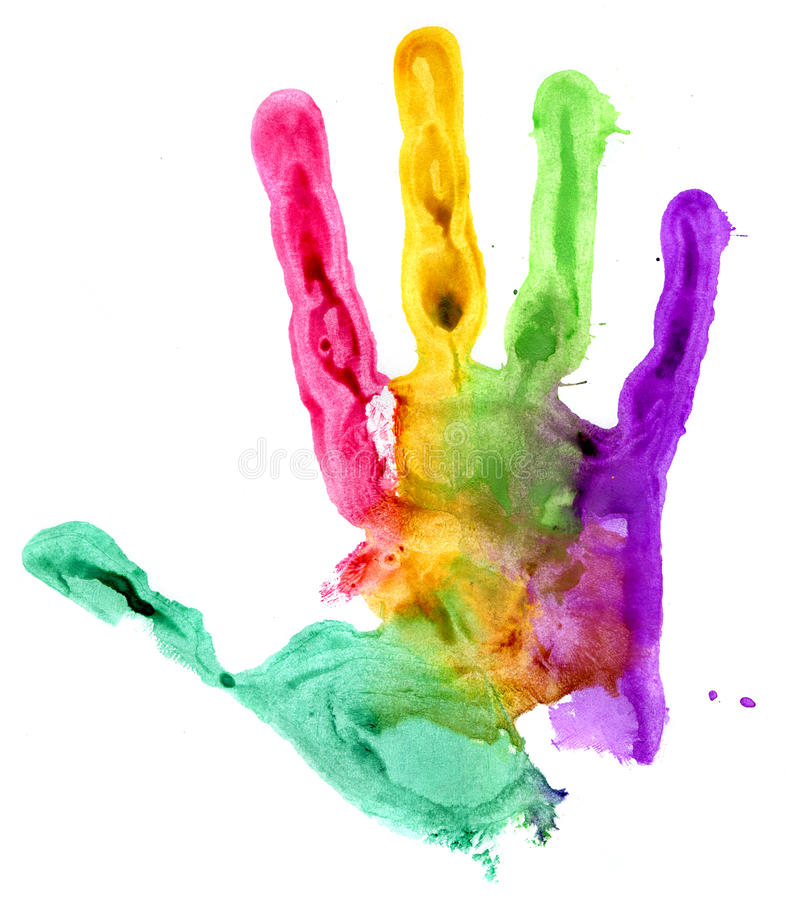 Close up of colored hand print on white stock photos