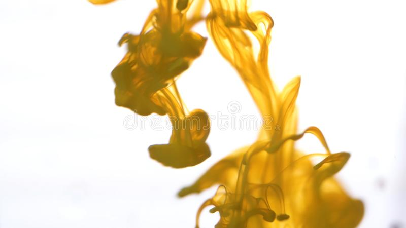 Close up for colored ink spreading in water on white background. Colorful, yellow abstract smoke falling from top to royalty free stock photo