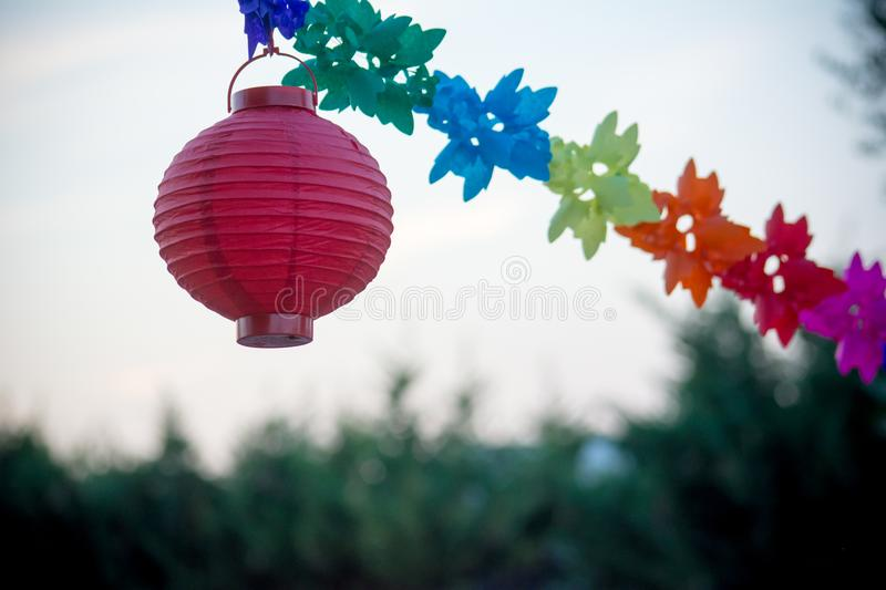 Close Up of Colored Party Decorations on Blur Background royalty free stock photos