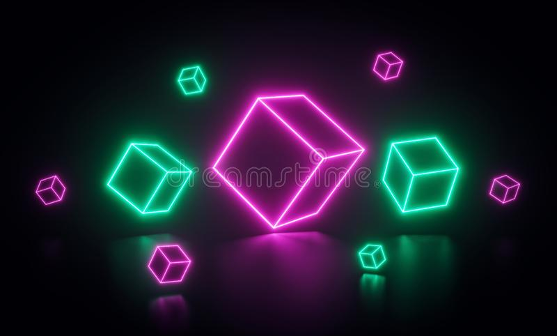 Colorful abstract neon cubes. glowing pink and green lines or shapes. 3d rendering stock illustration