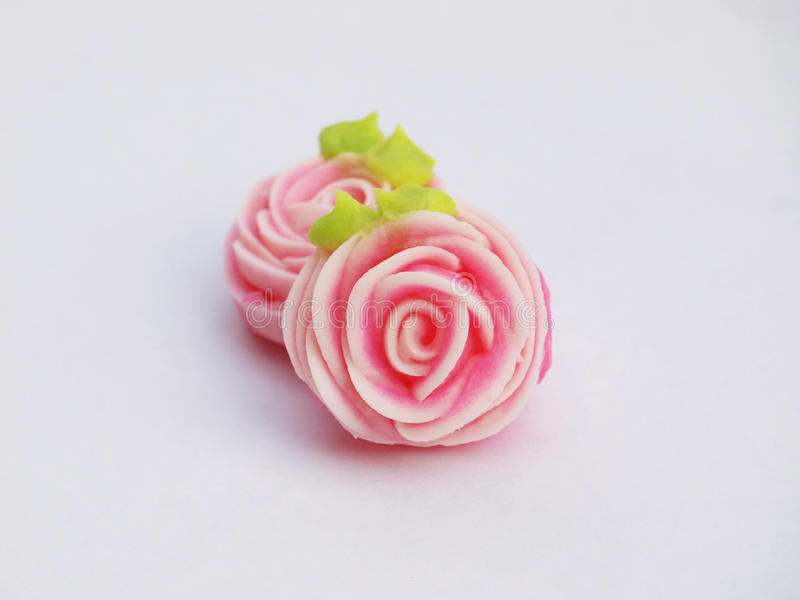Close up of colorful candy with rose shaped. `A-lua or Allure` Thai handmade candy stock images