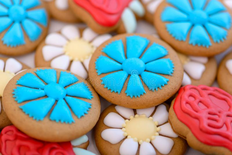 Close-up colorful gingerbread cookie stock photos