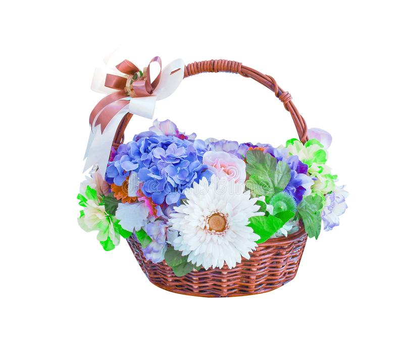 Colorful ornamental variety of flowers in the gift wood basket with hydrangea ,rose, chrysanthemum and bow ribbon natural patterns. Close up Colorful ornamental royalty free stock image
