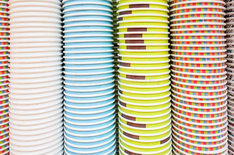 Colorful paper cups texture and background stock photography