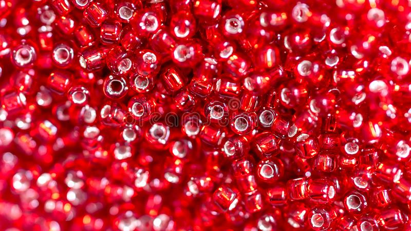 Close up Colorful red glass beads royalty free stock photos