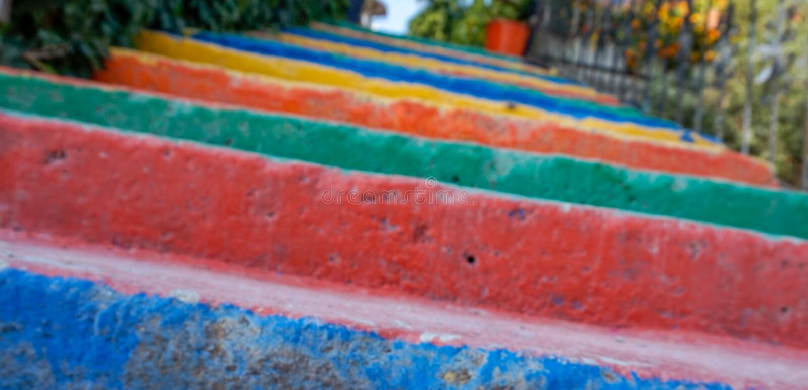 A Close up Colorful stairs. In a hot summer time royalty free stock photos