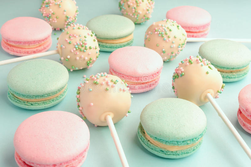 Close-up of colorful sweet macaroons mixed with cake crumbs stock photos