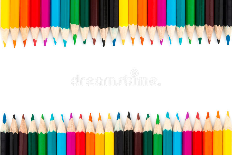 Close up Colour pencils isolated on white background stock images