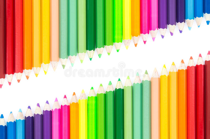 Close up colour pencils isolated on white stock photo