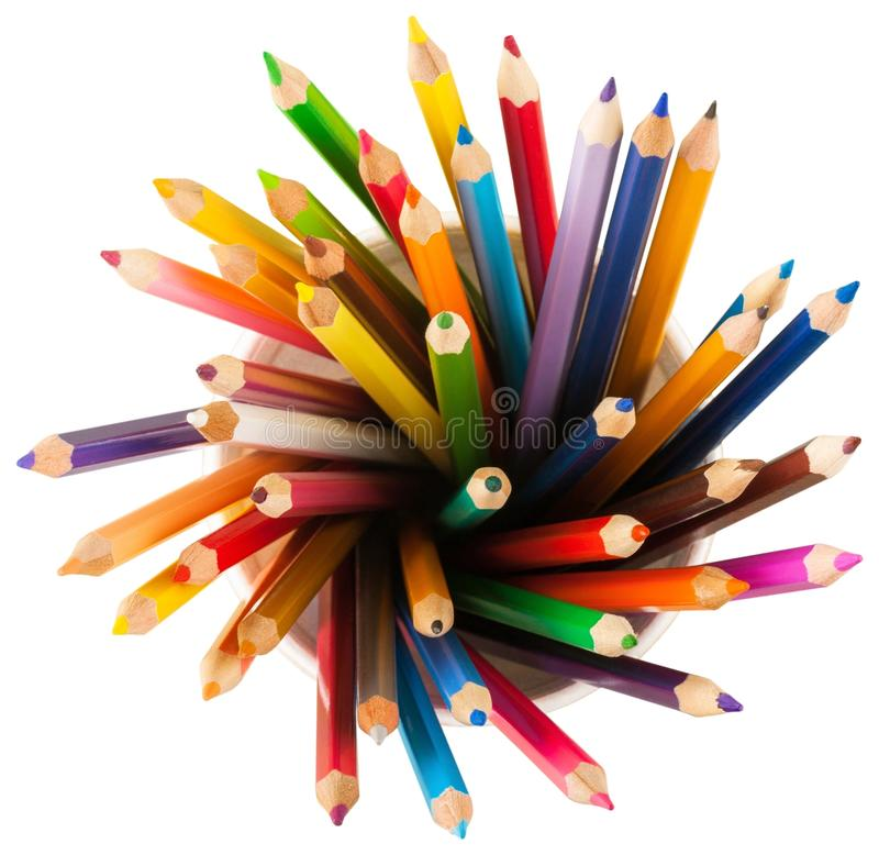 Close up colour pencils in white ceramic cup royalty free stock photos