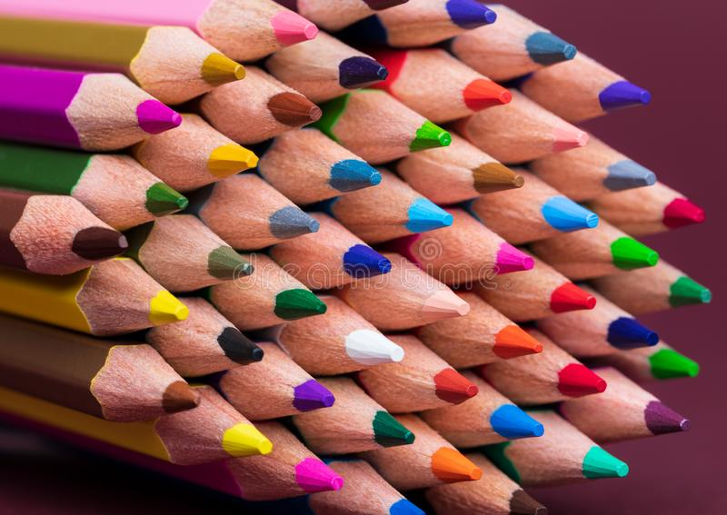Close Up of Coloured Pencil Tips stock images
