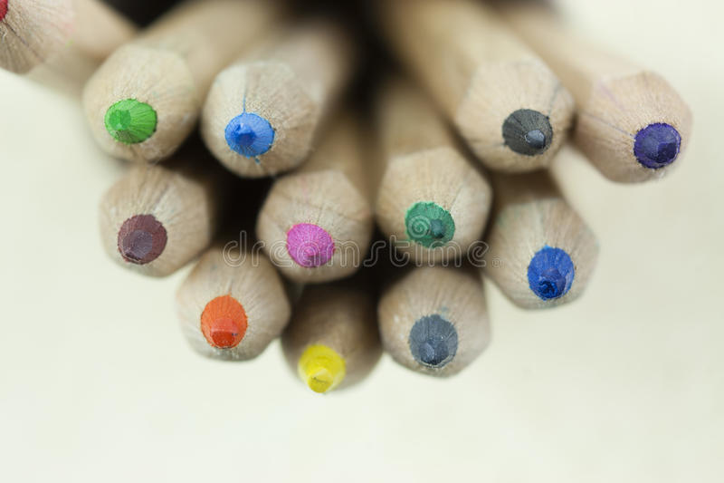 Close up of coloured pencils stock photos