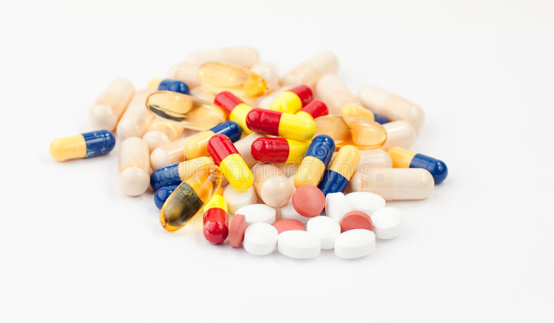 Close up of coloured pills stock photos