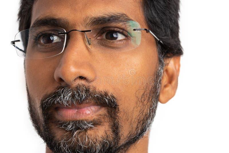 Close-up com a cara do homem indiano imagens de stock