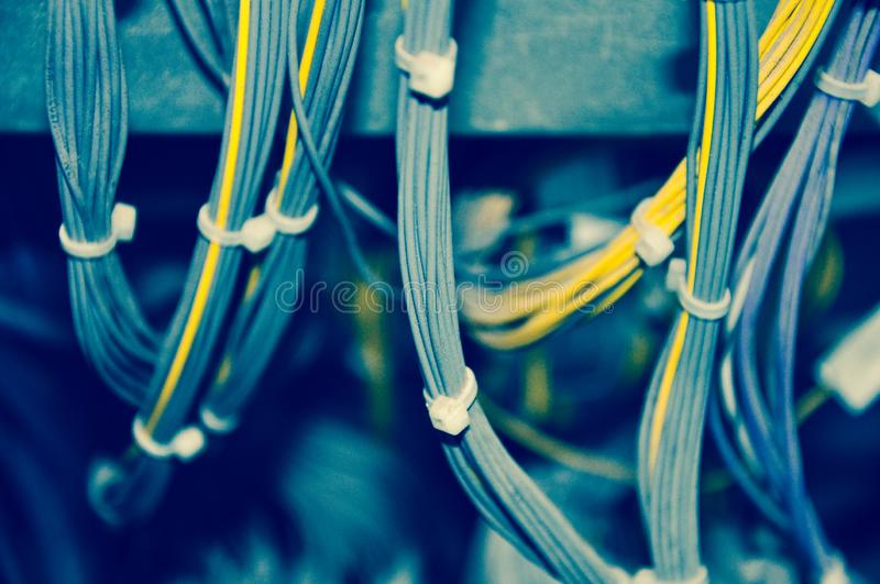 Cables. Close-up of Communication Electric Cable Wires royalty free stock images