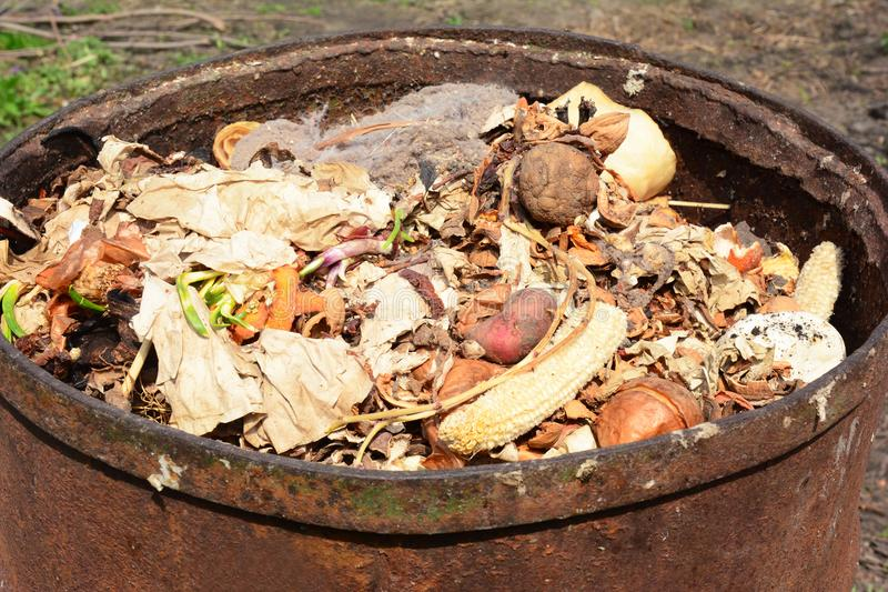 Close up on compost bin with food scraps. stock images